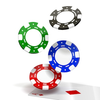 Falling poker chips isolated