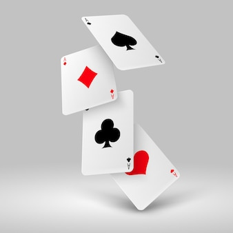 Falling poker playing cards of aces