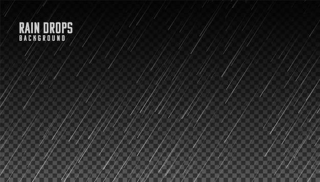 Falling rain on transparent background