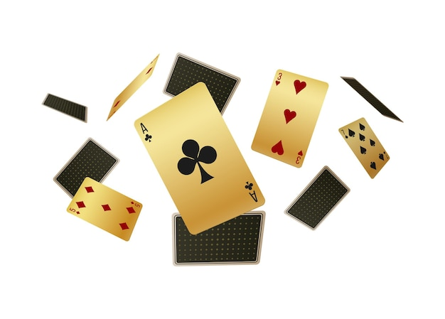 Falling realistic playing cards
