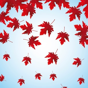 Falling red maple leaves background vector illustration