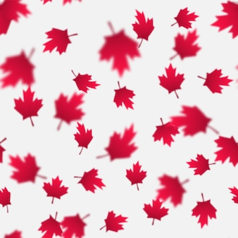 Falling red maple leaves seamless pattern. canada day, july 1st celebration concept. flying autumn foliage.