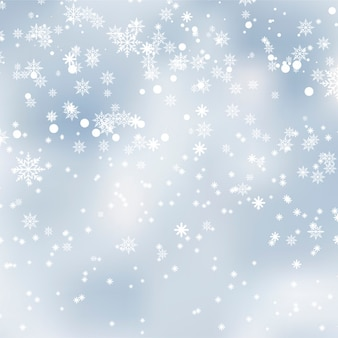 Falling shining snow or snowflakes. Vector.