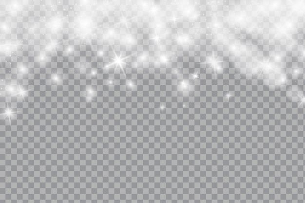 Falling shining snow or snowflakes on transparent background