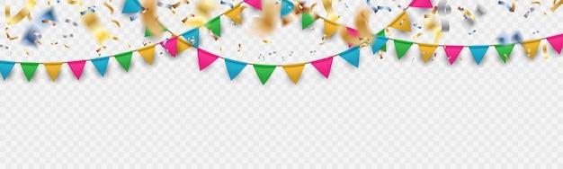 カラフルなお祝い花輪とフォーカススタイルバナー背景から落ちてくる光沢のあるカラフルなキャンフェッティボケ