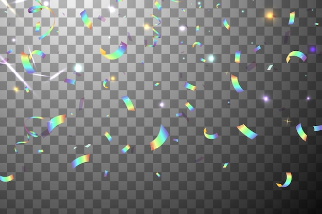 Falling shiny glitter rainbow confetti with sunshine glare isolated. iridescent background. mesh holographic foil backdrop. holographic background with light glitch effect.
