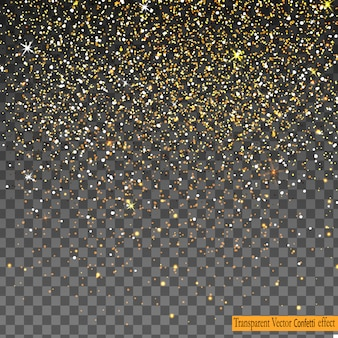 Falling shiny gold glitter confetti isolated on transparent