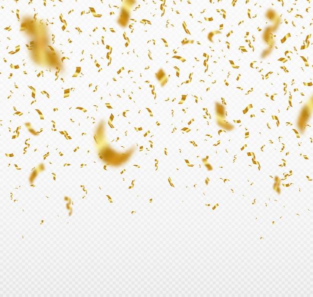 Падение блестящего золотого конфетти партийный фон.