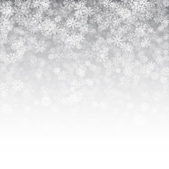 Falling snow effect christmas white background