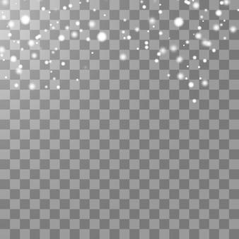 ボケ味がぼやけた透明な背景に分離された降雪効果。
