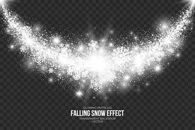 Falling snow effect on transparent background