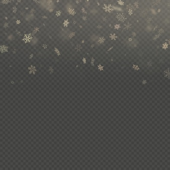Falling snow flake golden overlay effect teplate isolated on transparent background.