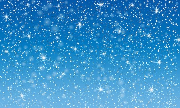 雪が降る。雪のイラスト。冬の青い空。クリスマスのテクスチャです。輝きの雪の背景。