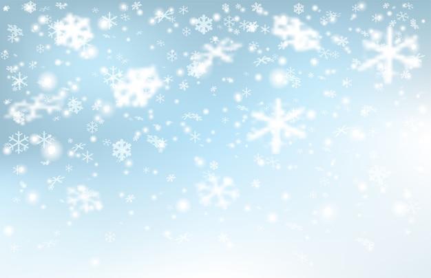水色の背景に降る雪。リアルな雪片。