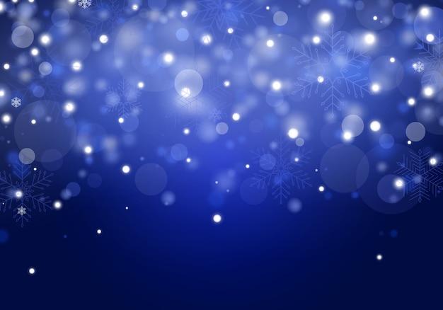 雪が降る。透明な背景に分離された現実的な立ち下がり雪。さまざまな形や形の大雪。青色の背景にあなたのテキストのための場所