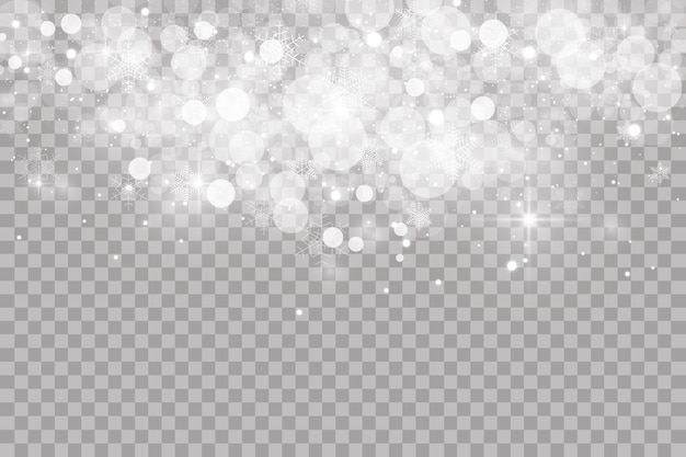 Falling snow on transparent background