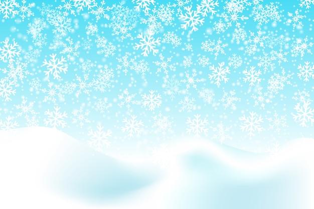 떨어지는 눈. 겨울 푸른 하늘. 크리스마스 텍스처입니다. 스파클 눈 배경.
