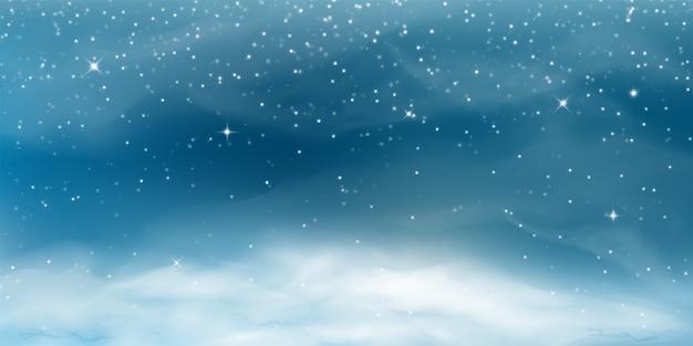 Падающий снег. зимний пейзаж с холодным небом, метелью, снежинками, сугробом в реалистичном стиле.