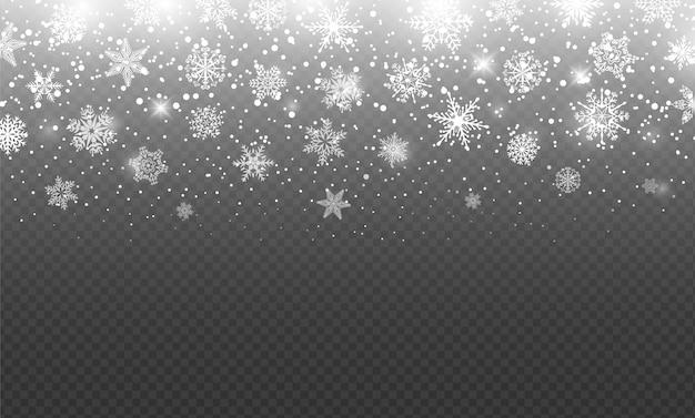 降る雪と曇らされた雪大雪オーバーレイクリスマス冬ベクトル背景