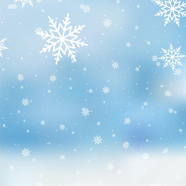 Falling snowflakes on on blue sky, vector