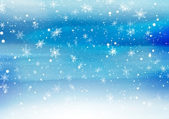 Falling snowflakes on painted background