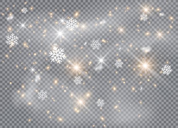 Падение. снежинки, снежный фон, снежинки. рождественский снег на новый год. сильный снегопад, снежинки разной формы и формы.
