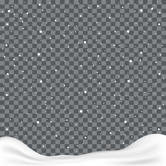 Falling snowflakes or snowflakes on transparent background
