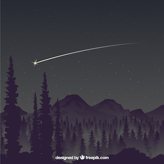 Falling star over the mountains