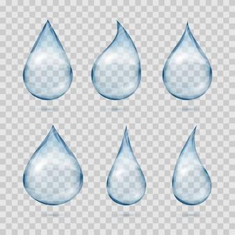 Falling transparent water drops vector set