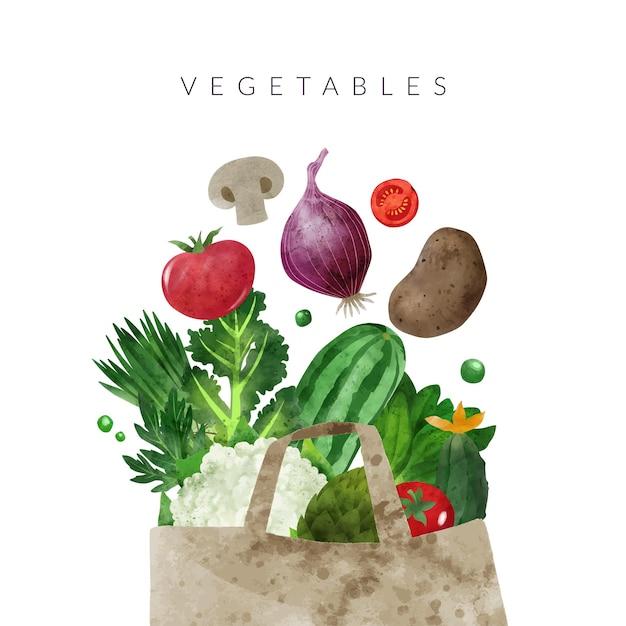 Падающие овощи рисованной векторные акварельные иллюстрации