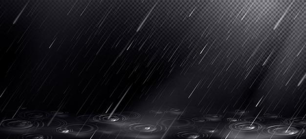 떨어지는 물방울과 웅덩이 잔물결