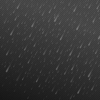 流れ落ちる水滴雨のテクスチャ透明な背景に分離された降雨テクスチャ