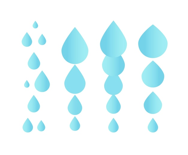 Falling water icon clean droplet logo template simple flat sign blue abstract symbol isolated vector