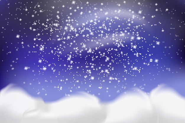 Falling white snow and drifts
