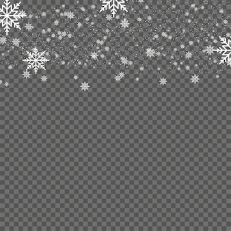 Falling white snowflakes for christmas on transparent background. vector