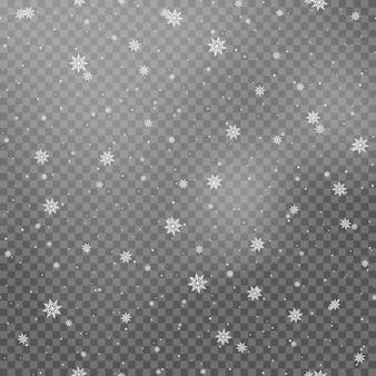 透明な背景にクリスマスの白い雪の落下。ベクター