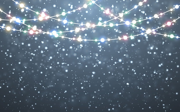 Падающие белые снежинки на темном фоне