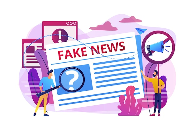 False information broadcasting. press, newspaper journalists, editors. fake news, junk news content, disinformation in media concept.