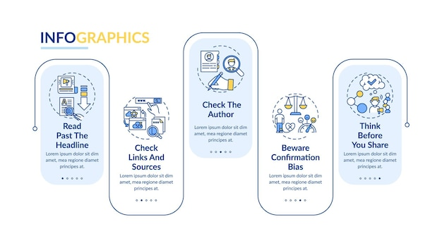 False news checking  infographic template. bewaring confirmation bias presentation design elements. data visualization with  steps. process timeline chart. workflow layout with linear icons
