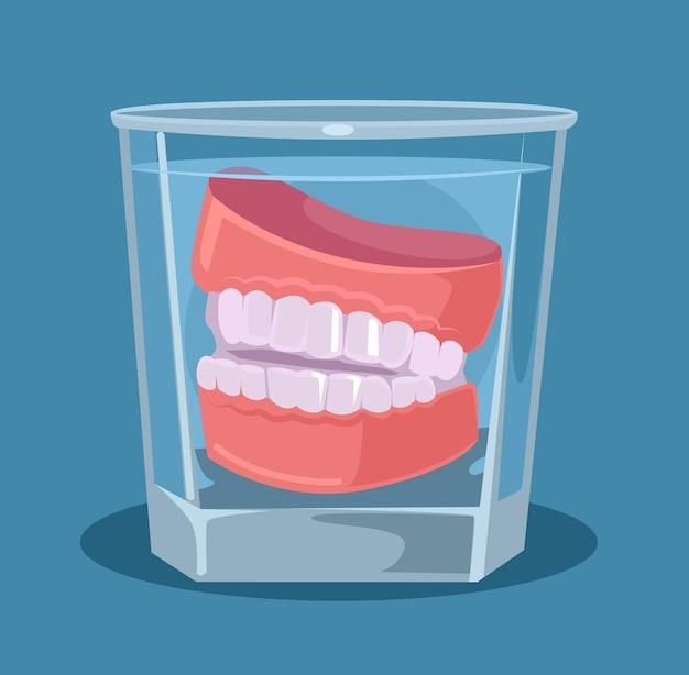 ガラスのイラストの入れ歯