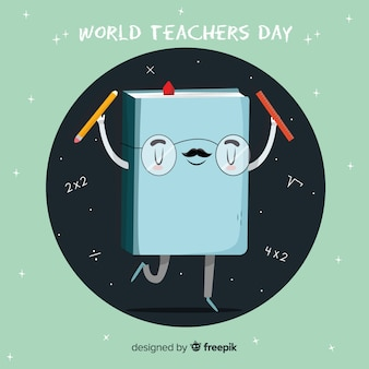Falt design cartoon book for world teachers' day