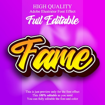 Fame script text editable typography font effect