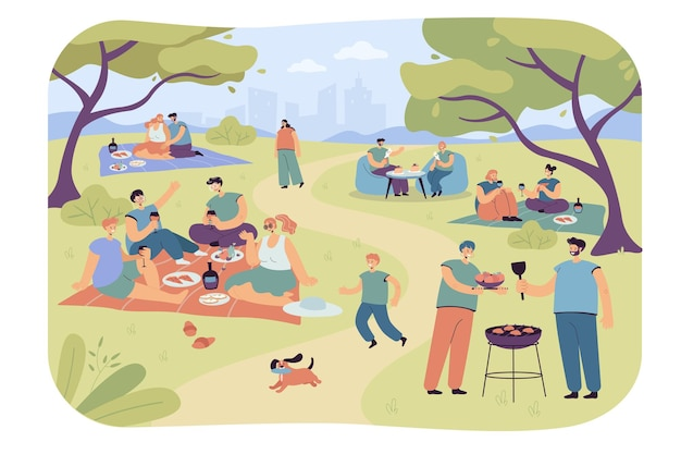도시 공원에서 쉬고 있는 가족과 친구들