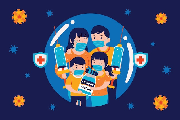 Families are protected by vaccines in flat design