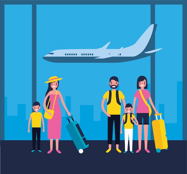 Семьи в аэропорту