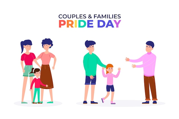 Families celebrating pride day event