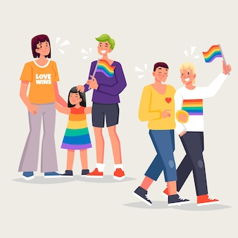 Families celebrating pride day