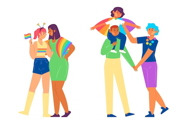 Families and couples celebrating pride day