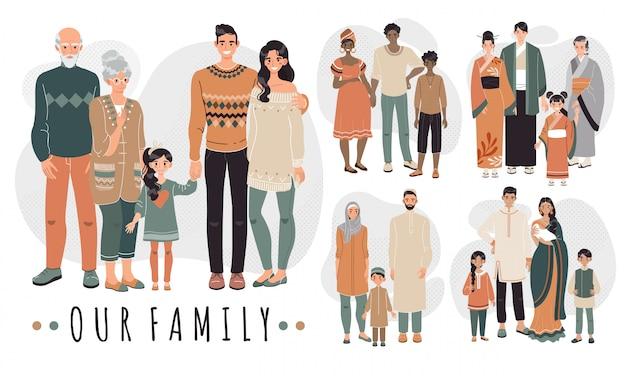 다른 나라의 가족, 만화 캐릭터 일러스트. 부모와 자녀가 함께 행복한 가족. 아시아, 아랍, 아프리카 및 인도 문화의 전통 의상을 입은 사람들.