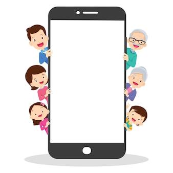 모바일 애플리케이션을 사용하는 가족